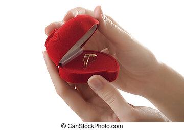 mãos, anel, coração vermelho, amor