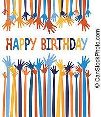 mãos, aniversário, excitado, cartão, design.