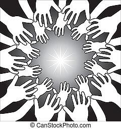 mãos, ao redor, luz brilhante
