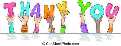mãos, bom, características, dizendo agradece