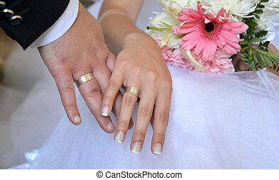 mãos, casório