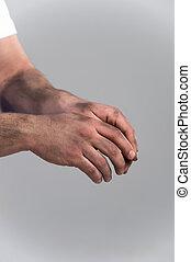 mãos, closeup, sujo, baixo, palmas, homem, cinzento, quadro, experiência.