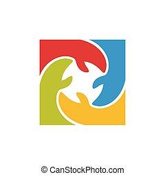 mãos, colaboração, grupo, equipe, coloridos, logotipo, unidade