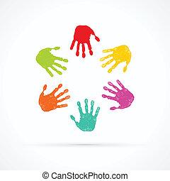 mãos, coloridos