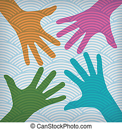 mãos, coloridos, feliz, equipe, este prego, símbolo.