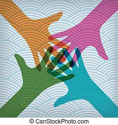 mãos, coloridos, feliz, fundo, equipe, acenado, símbolo.