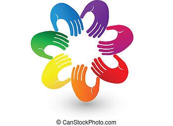 mãos, coloridos, logotipo, ícone, equipe