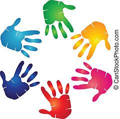 mãos, coloridos, logotipo