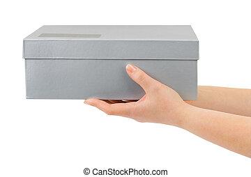 mãos, com, caixa