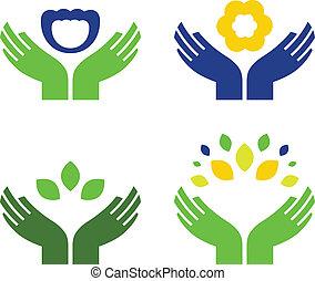 mãos, com, natureza, símbolos, isolado, branco