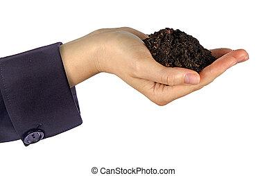 mãos, com, solo