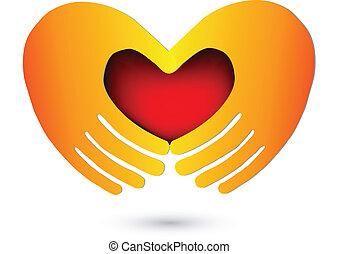 mãos, com, um, coração vermelho, logotipo