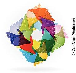 mãos, conectado, ajudando, pessoas, logotipo