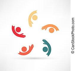 mãos, conectando, ícone