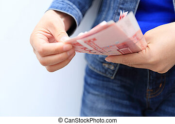 mãos, contagem, yuan chinês, dinheiro