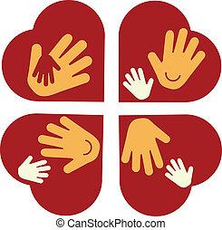 mãos, coração, criança, adulto