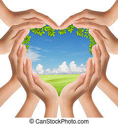 mãos, coração, fazer, cobertura, natureza, forma