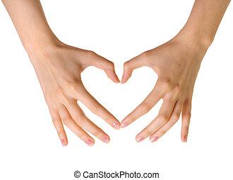 mãos, coração, fundo, isolado, feito, branca