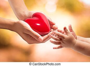 mãos, coração, vida, seu, -