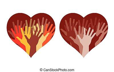 mãos, corações, muitos, ajudando