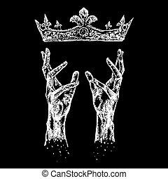 mãos, coroa, alcançar