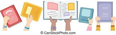 mãos, crianças, abertos, livros, cima