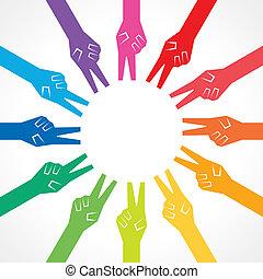 mãos, criativo, coloridos, vitória