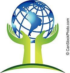 mãos, cuidado, mundo, logotipo