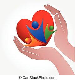 mãos, cuidado, pessoas, com, amor, logotipo