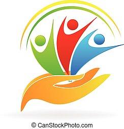 mãos, cuidado, pessoas, logotipo