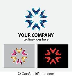 mãos, cuidando, logotipo