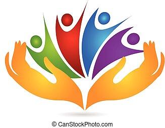 mãos, cuidando, pessoas, logotipo