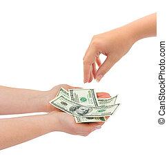 mãos, dando dinheiro
