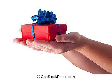 mãos, dando um presente