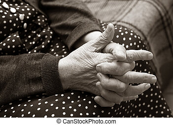 mãos, de, a, mulher idosa