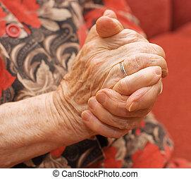 mãos, de, a, mulher velha