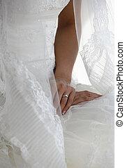 mãos, de, a, noiva