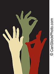 mãos, de, aceitação