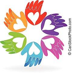 mãos, de, amor, vetorial, ícone, logotipo