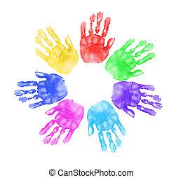 mãos, de, crianças, em, escola