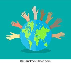 mãos, de, diferente, cores, e, globo
