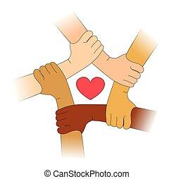 mãos, de, diferente, raças, com, heart.eps