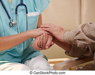 mãos, de, enfermeira, e, idoso, patient.