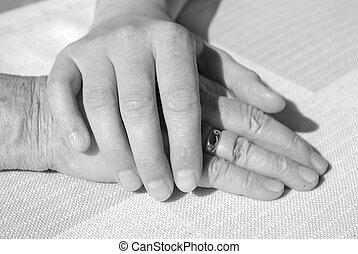 mãos, de, jovem, e, um, mulher sênior, para, conforto