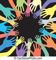 mãos, de, muitas cores, vetorial, fundo