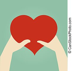 mãos, de, mulher homem, com, coração