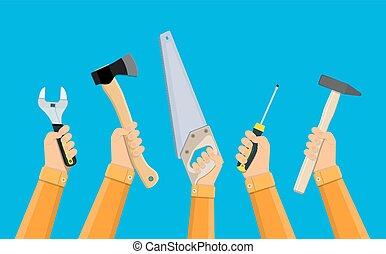 mãos, de, trabalhadores, segurando, predios, ferramentas