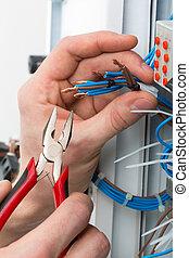 mãos, de, um, eletricista