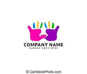 mãos, desenho, ilustração, logotipo, coloridos