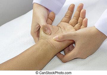 mãos, digital, pressão, fixtion, massagem
